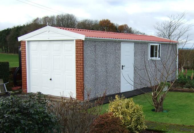 Apex roof concrete garage
