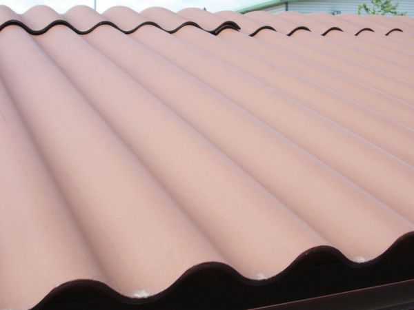 Brown cement garage roof
