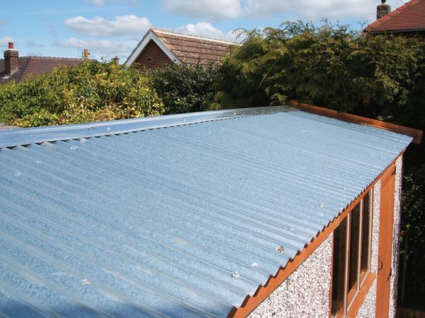 Galvanised steel garage roof