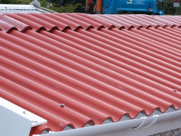 Red cement garage roof
