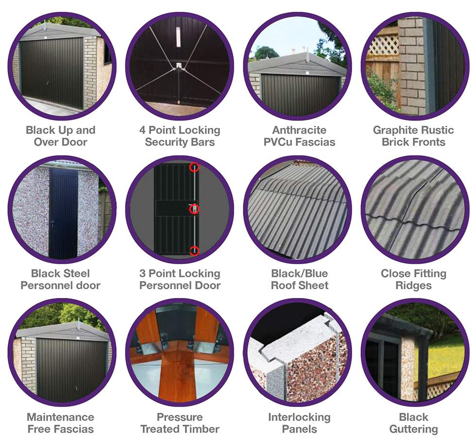 Graphite concrete garage features